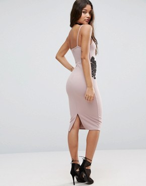 photo Textured Pencil Dress with Lace Waist by ASOS, color Mink - Image 2