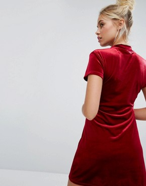 photo Exclusive Hate Mail Bodycon Velvet Dress by Lazy Oaf, color Red - Image 2