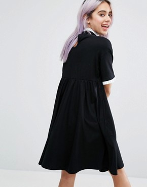 photo I Am Not Sorry T-Shirt Dress by Lazy Oaf, color Black - Image 2