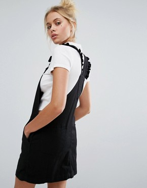 photo Exclusive Heart Pinafore Dress In Denim by Lazy Oaf, color Black - Image 2
