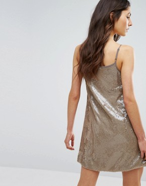 photo Cami Swing Dress In Sequin by Glamorous, color Gold - Image 2