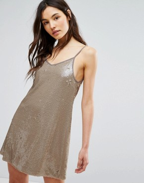 photo Cami Swing Dress In Sequin by Glamorous, color Gold - Image 1
