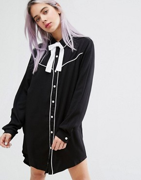 photo Dead Inside Shirt Dress with Cowboy Collar by Lazy Oaf, color Black - Image 1