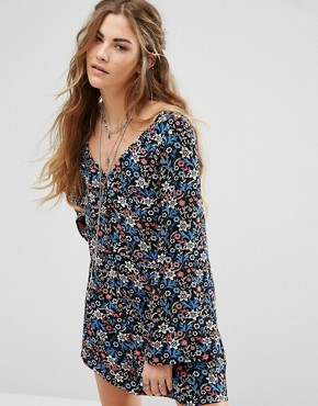 photo Long Sleeve Button Front Tea Dress In Vintage Floral by Glamorous, color  - Image 1