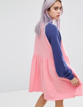 photo Don't Bother Jumper Dress with Raglan Sleeves by Lazy Oaf, color Pink - Image 2