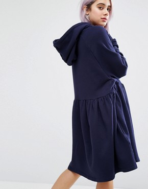 photo Mondays Hoodie Dress by Lazy Oaf, color Navy - Image 2