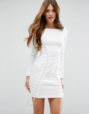 photo Corset Lace Up Scuba Mini Dress by ASOS PREMIUM, color White - Image 1