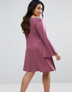 photo Swing Dress with Fluted Sleeve by Pink Clove, color Pink - Image 2