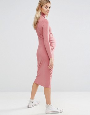 photo Rib Midi Dress with Zip by Bluebelle Maternity, color Pink - Image 2