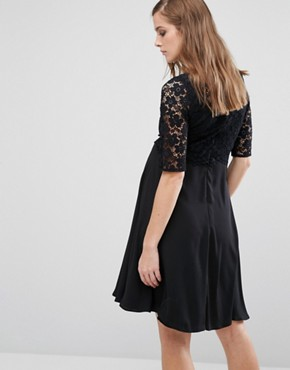 photo Lace Overlay Midi Swing Dress by Queen Bee, color Black - Image 2