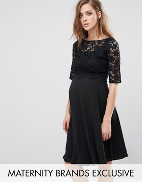 photo Lace Overlay Midi Swing Dress by Queen Bee, color Black - Image 1
