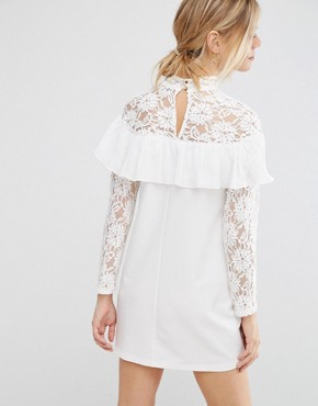 photo Shift Dress with Lace and Ruffle Detail by Queen Bee, color Cream - Image 2