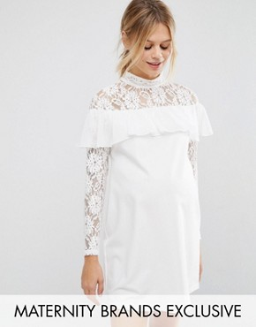 photo Shift Dress with Lace and Ruffle Detail by Queen Bee, color Cream - Image 1