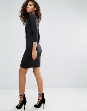 photo Slinky Wrap Mini Dress by ASOS TALL, color Black - Image 2
