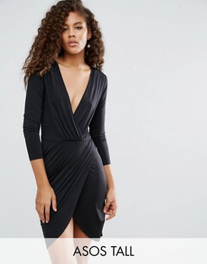 photo Slinky Wrap Mini Dress by ASOS TALL, color Black - Image 1