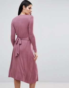 photo Long Sleeve Knot Front Midi Dress by Bluebelle Maternity, color Mauve - Image 2