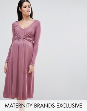 photo Long Sleeve Knot Front Midi Dress by Bluebelle Maternity, color Mauve - Image 1