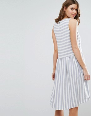 photo Skater Dress In Stripe by Vero Moda Tall, color White/Blue - Image 2