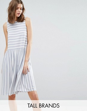 photo Skater Dress In Stripe by Vero Moda Tall, color White/Blue - Image 1