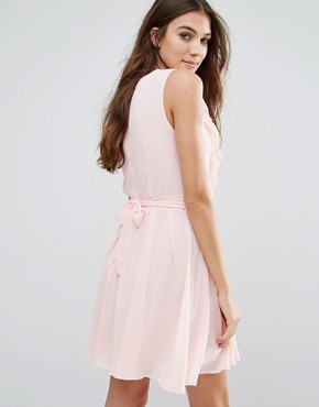 photo Lace Insert Skater Dress with Ruffles by Wal G, color Pink - Image 2