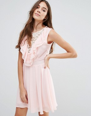 photo Lace Insert Skater Dress with Ruffles by Wal G, color Pink - Image 1