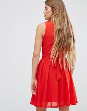 photo Lace Insert Skater Dress with Ruffles by Wal G, color Red - Image 2