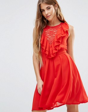 photo Lace Insert Skater Dress with Ruffles by Wal G, color Red - Image 1