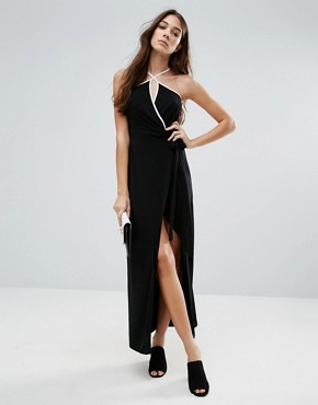 photo Wrap Maxi Dress by Wal G, color Black - Image 1