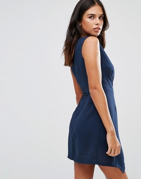 photo Wrap Dress by Wal G, color Navy - Image 2