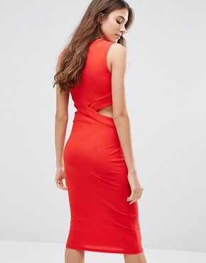 photo Pencil Dress with Cut Outs by Wal G, color Red - Image 2