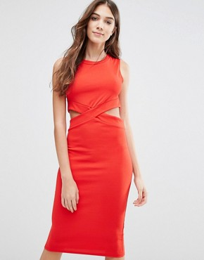 photo Pencil Dress with Cut Outs by Wal G, color Red - Image 1