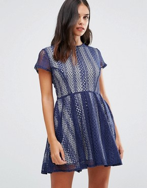 photo Lace Dress by Wal G, color Navy - Image 1