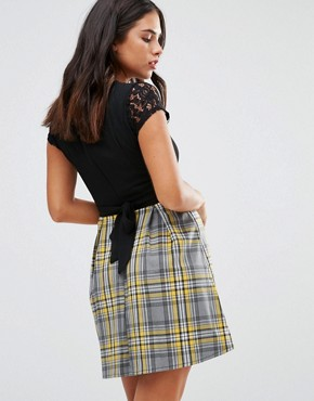 photo Check Skirt Dress by Wal G, color Black Yellow - Image 2