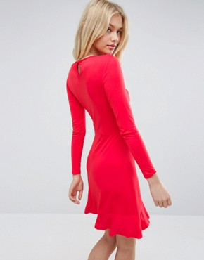 photo Frill Hem Mini Dress by ASOS, color Bright Red - Image 2