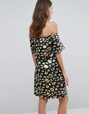 photo Off Shoulder Dress by Helene Berman, color Black/Gold - Image 2