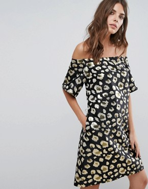 photo Off Shoulder Dress by Helene Berman, color Black/Gold - Image 1