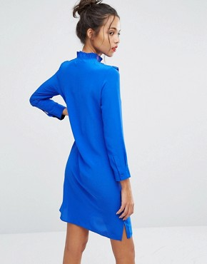 photo Frill Front Silk Dress by PS by Paul Smith, color Blue - Image 2