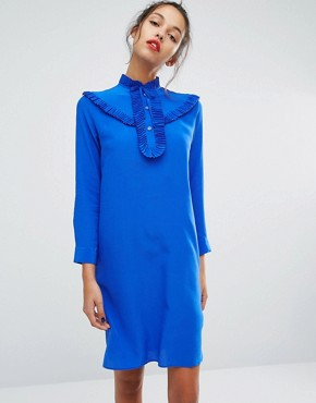 photo Frill Front Silk Dress by PS by Paul Smith, color Blue - Image 1