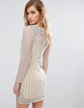 photo Embellished Bodycon Dress by New Look Premium, color Nude - Image 2
