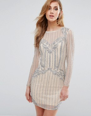 photo Embellished Bodycon Dress by New Look Premium, color Nude - Image 1