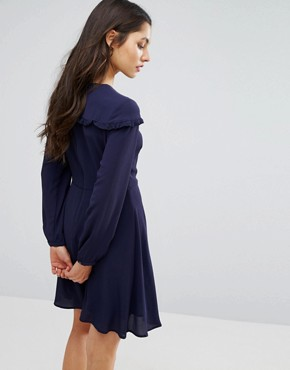 photo Ruffle Bib Smock Dress by New Look, color Navy - Image 2