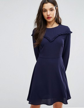 photo Ruffle Bib Smock Dress by New Look, color Navy - Image 1