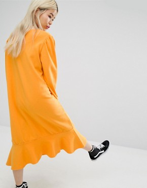 photo Drop Hem Smock Dress by STYLENANDA, color Yellow - Image 2