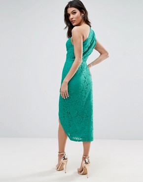 photo Lace One Shoulder Midi Pencil Dress by ASOS, color Green - Image 2