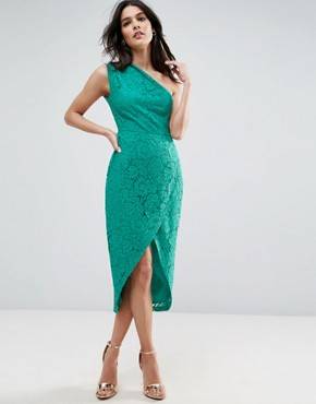 photo Lace One Shoulder Midi Pencil Dress by ASOS, color Green - Image 1