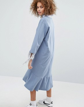 photo Drop Waist Smock Dress by STYLENANDA, color Blue - Image 2