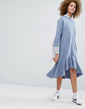 photo Drop Waist Smock Dress by STYLENANDA, color Blue - Image 1