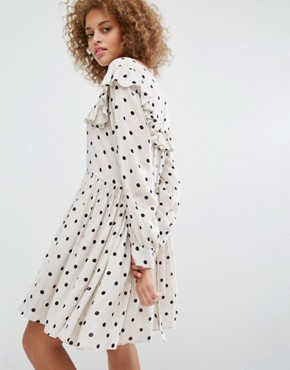 photo Smock Dress with Polka Dot Print by STYLENANDA, color Cream - Image 2