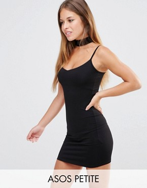 photo Mini Cami Bodycon Dress by ASOS PETITE, color Black - Image 1
