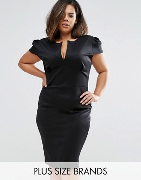 photo Dress with Open Neck by Club L Plus, color Black - Image 1